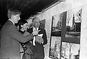 "05/04/1963<br /> 04/05/1963<br /> 05 April 1963<br /> Opening of ""Ulster Today"" architectural photographic exhibition.Organised by the Royal Society of Ulster Architects opened at the Gallery of the Building Centre of Ireland  in Dublin in the presence of Donagh O'Malley, Parlimentary Secretary to the Minister for Finance and Sir Ian MacLennan, British Ambassador to Ireland. The exhibition was later displayed in Belfast. Picture shows:Robert Mckinstry (right) convenor of the exhibition committee;  Ann McGraw (Belfast) and Michael Porter of Belfast who took half of the photographs at the exhibition."