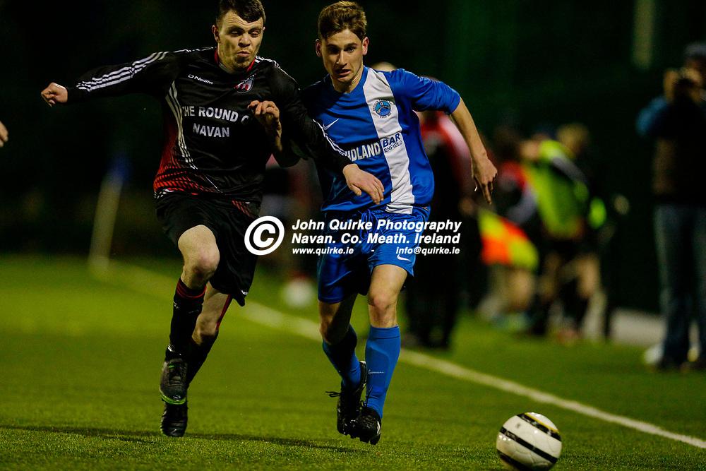 14/04/2017, Division 1 Soccer at MDL, Navan<br /> OMP United vs Enfield Celtic<br /> David Bowens (OMP United) & Evan Coyle (Enfield Celtic)<br /> Photo: David Mullen / www.quirke.ie ©John Quirke Photography, Unit 17, Blackcastle Shopping Cte. Navan. Co. Meath. 046-9079044 / 087-2579454.<br /> ISO: 6400; Shutter: 1/500; Aperture: 2.8<br /> File Size: 9.1MB<br /> Print Size: 72.0 x 48.0 inches