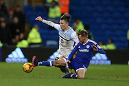 Jack Grealish of Aston Villa (l) is tackled hard by Craig Noone of Cardiff city. EFL Skybet championship match, Cardiff city v Aston Villa at the Cardiff City Stadium in Cardiff, South Wales on Monday 2nd January 2017.<br /> pic by Andrew Orchard,