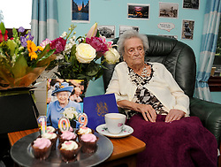 Pictured: Janet with some of the flowers, cards and presents she has received.<br /> <br /> Janet Mackay, who was born in 1910, the year George VII died and four years before the start of the First World War, celebrated her 109th birthday at her care home in Broxburn, West Lothian today, Tuesday.<br /> <br /> © Dave Johnston/ EEm