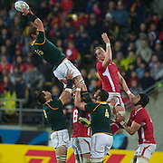 Johan Muller, South Africa, wins a line out during the Wales V South Africa, Pool D match during the Rugby World Cup in Wellington, New Zealand,. 11th September 2011. Photo Tim Clayton