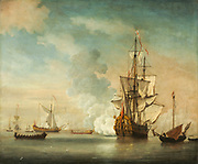 """English Warship Firing a Salute, 1690,  Willem van de Velde the Younger (1633-1707) Netherlands, 17th century, Oil on canvas<br /> The subject of this painting is a Royal English Navy ship firing a salute to a state barge. The ship depicted here, may be the sixth-rate frigate called the Saudadoes, which was frequently used to carry individuals or parties on official missions. The designation """"sixth-rate"""" indicates that the ship carried 18-28 cannon, which can be detected from the smoke billowing out from the port side of the vessel. It is possible that Willem van de Velde the Younger (1633-1707) was familiar with the Saudodoes as there is a drawing of the ship, made by his father, which is now in the British Museum. Willem van de Velde the Elder (1611-1693) was a specialist in pen and ink drawings of marine vessels. He would spend time at sea making sketches of individual ships and the maneuvers of the fleet, which formed the basis of the Younger's oil paintings. Throughout their careers the two artists collaborated on a myriad of images."""