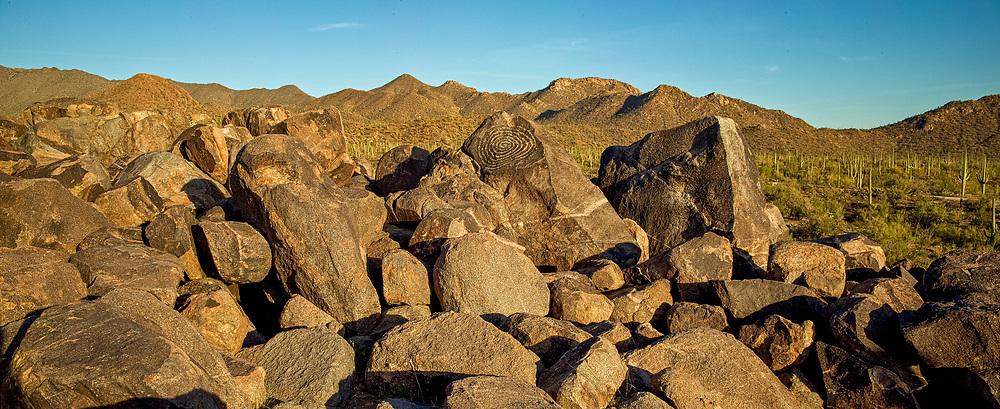 Spiral petroglyph panorama on Signal Hill in Saguaro National Park, Arizona