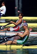 Barcelona Olympics 1992 - Lake Banyoles, SPAIN,  GBR M1X Wade Hall-Craggs, moves away from the start pontoon during the heats, [Photo: Peter Spurrier.       {Mandatory Credit: © Peter Spurrier/Intersport Images]