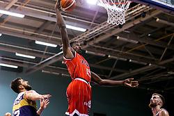 Daniel Edozie of Bristol Flyers slam dunks - Mandatory by-line: Robbie Stephenson/JMP - 05/10/2018 - BASKETBALL - University of Worcester Arena - Worcester, England - Bristol Flyers v Worcester Wolves - British Basketball League