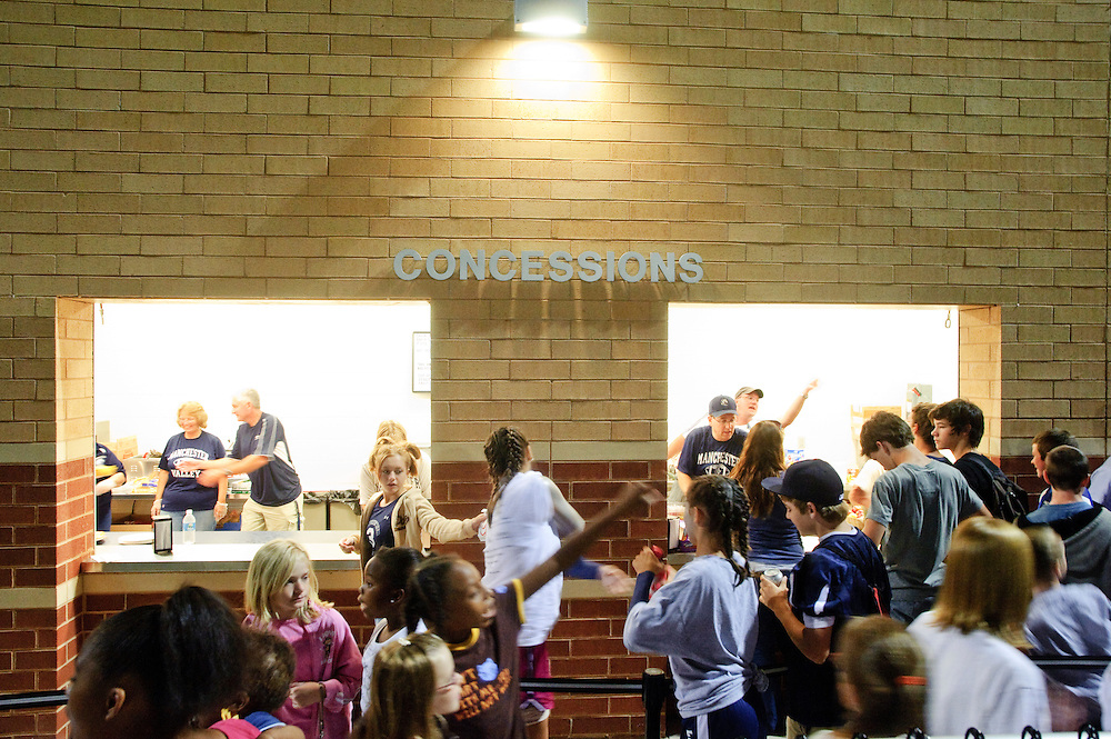 (staff photo by Matt Roth)..The concessions area generated substantial traffic during half-time at Manchester Valley's first varsity football game against the Clear Spring Blazers Friday, September 4, 2009. The Mavericks lost 6-28.