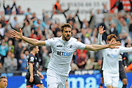Fernando Llorente of Swansea City celebrates after he scores his first half goal .<br /> Premier league match, Swansea city v Everton at the Liberty Stadium in Swansea, South Wales on Saturday 6th May 2017.<br /> pic by  Phil Rees, Andrew Orchard sports photography.