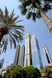 Skyline of skyscrapers along Sheikh Zayed road  in Dubai United Arab Emirates