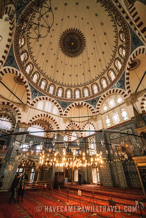 Wide angle shot of the intricately tiled and painted dome of Istanbul's Rustem Pasha Mosque near the Spice (Egyption) Market.