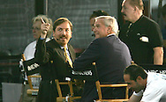 Chuck Todd,NBC news politcal director and Tom Brokaw at the last night of the Democratic Convention in Denver, Colorado.  Photograph by Dennis Brack