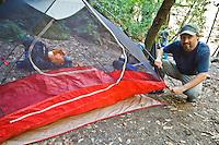 Setting up camp at Sykes Hot Springs, Big Sur, California.