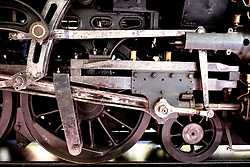 Detail of steam locomotive at Riverside transport museum in Glasgow, United Kingdom