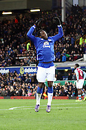 Romelu Lukaku of Everton celebrates after scoring his teams 4th goal. Barclays Premier League match, Everton v Aston Villa at Goodison Park in Liverpool on Saturday 21st November 2015.<br /> pic by Chris Stading, Andrew Orchard sports photography.