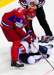 Ilya Nikulin of Russia vs Blaz Gregorc of Slovenia during ice-hockey match between Russia and Slovenia of Group A of IIHF 2011 World Championship Slovakia, on May 1, 2011 in Orange Arena, Bratislava, Slovakia. (Photo By Vid Ponikvar / Sportida.com)