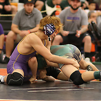 Satoshi Ueda of Monta Vista in the 2018 SCVAL Wrestling Finals ( 126 ibs)(Photo by Bill Gerth)