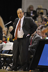 Jan 23, 2010; Columbia, MO, USA; Nebraska Cornhuskers head coach Doc Sadler reacts to a call in the first half of the game against the Missouri Tigers at Mizzou Arena in Columbia, MO. Missouri won 70-53. Mandatory Credit: Denny Medley-US PRESSWIRE