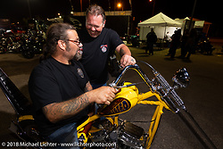 Chris Callen and Roadside Marty Davis at Bling's Cycle party during the 78th annual Sturgis Motorcycle Rally. Sturgis, SD. USA. Tuesday August 7, 2018. Photography ©2018 Michael Lichter.