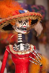 North America, Mexico, Oaxaca Province, Oaxaca, elegant skeleton, Day of the Dead (Dias de los Muertos) celebration