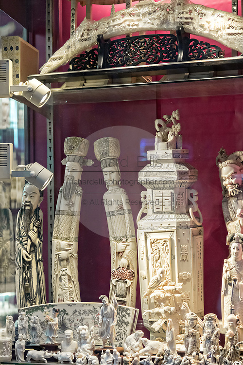 A Chinese shop selling carved ivory products in Central District of Hong Kong.