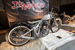 Custom Yamaha on display at the Mooneyes Yokohama Hot Rod & Custom Show. Yokohama, Japan. December 4, 2016.  Photography ©2016 Michael Lichter.