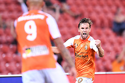 January 18, 2018 - Brisbane, QUEENSLAND, AUSTRALIA - Brett Holman of the Roar (#10) celebrates after scoring a goal during the round seventeen Hyundai A-League match between the Brisbane Roar and the Perth Glory at Suncorp Stadium on January 18, 2018 in Brisbane, Australia. (Credit Image: © Albert Perez via ZUMA Wire)