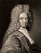 Daniel Defoe (1661?-1731) English author, satirist and adventurer.  Remembered now for his novels 'Robinson Crusoe' (1719), 'Journal of the Plague Year' (1722) and 'Moll Flanders' (1722).  Engraving from 'The Gallery of Portraits' Vol. VII, by Charles Knight (London, 1837).