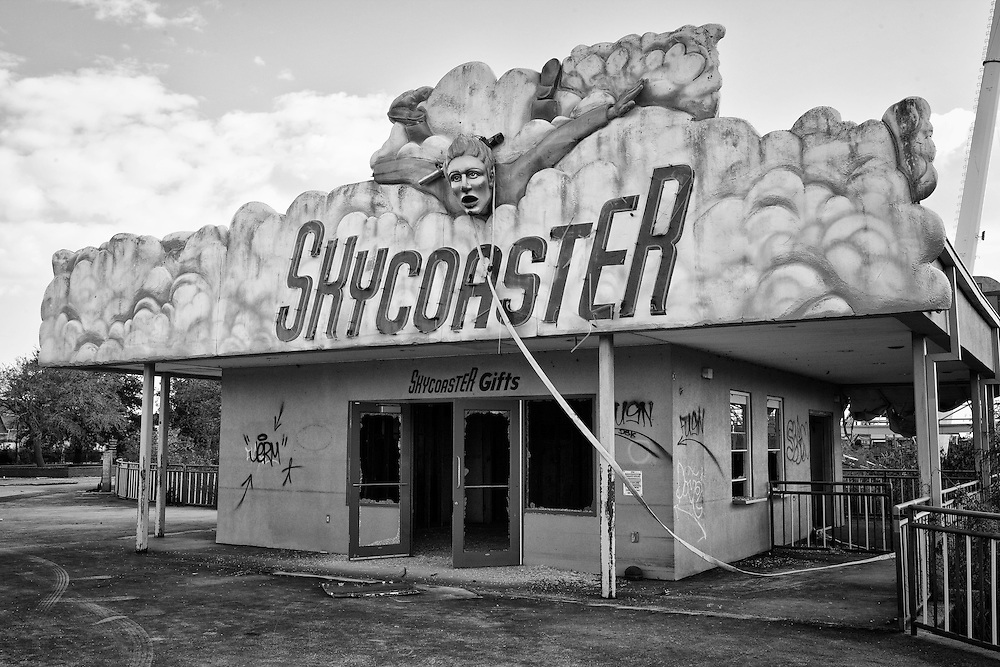 The Skycoaster ride entrance at Six Flags in East New Orleans - five years later after Hurricane Katrina.