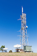 rural television broadcast transmission site with satelitte downlink antennas at Mulgildie, Queensland, Australia <br /> <br /> Editions:- Open Edition Print / Stock Image
