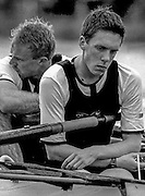 Peter Spurrier Sports Photo<br /> email pictures@rowingpics.com<br /> 44 (0) 7973 819 551<br /> Boat Race.<br /> <br /> Oxford stroke Matthew Smith,  and 7 man Brian Palm, after their dream of a Boat race victory is shattered. [Mandatory Credit; Peter SPURRIER/Intersport Images]<br /> <br /> 20010324 University Boat Race, Putney to Mortlake, London, Great Britain.