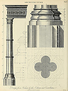 Copperplate engraving of Design for a Norman Gothic Column and Entablature From the Encyclopaedia Londinensis or, Universal dictionary of arts, sciences, and literature; Volume II;  Edited by Wilkes, John. Published in London in 1810