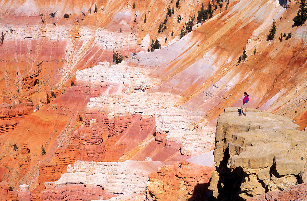 Hiker enjoying the colorful Cedar Breaks Amphitheater, Cedar Breaks National Monument, Utah USA
