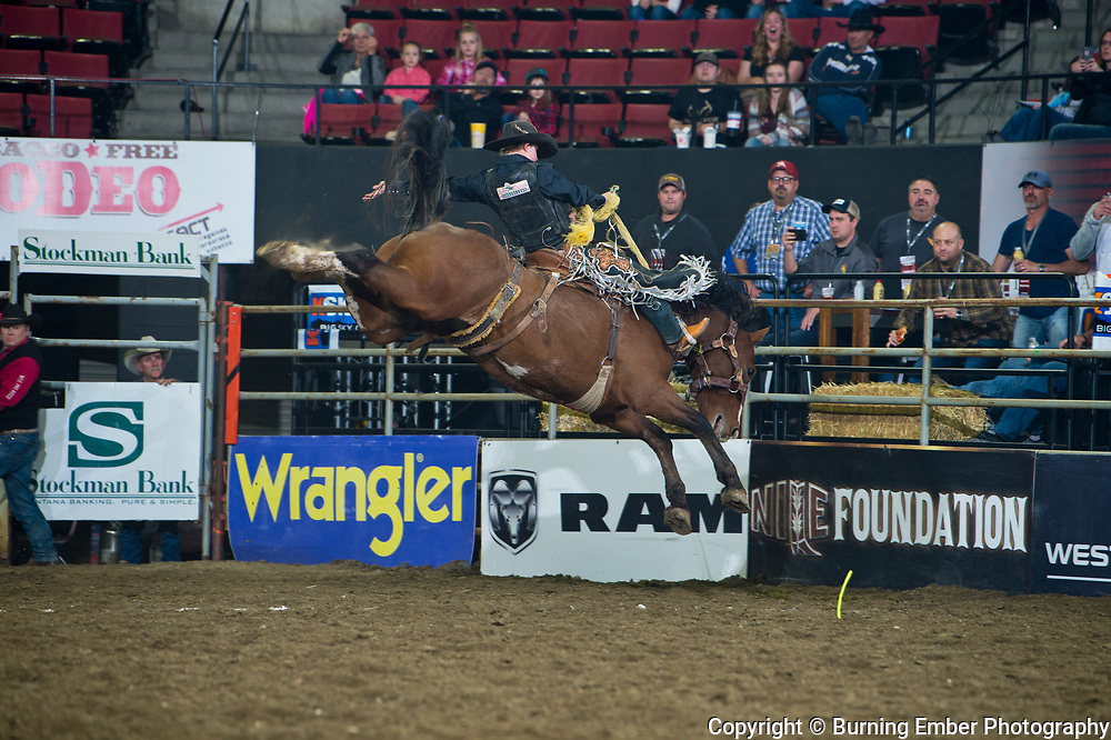 Dawson Hay on Powder River Rodeo;s Rebel Yell in the Saddle Bronc event at the NILE PRCA 1st perf Event. October 18th, 2018.  Photo by Josh Homer/Burning Ember Photography.  Photo credit must be given on all uses.
