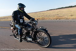 Chris Parry riding his 1923 Norton in the Motorcycle Cannonball coast to coast vintage run. Stage 10 (299 miles) from Sturgis, SD to Billings, MT. Tuesday September 18, 2018. Photography ©2018 Michael Lichter.