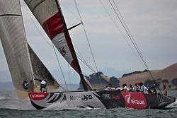 Artemis before their race against Team Origin is postponed. Race day 6, Round Robin 1. Auckland, New Zealand, March 15th 2010. Louis Vuitton Trophy  Auckland (8-21 March 2010) © Sander van der Borch / Artemis