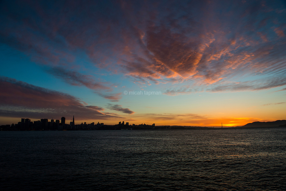 Sunset begins to fade over San Francisco
