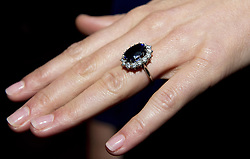 File photo dated 16/11/10 of the Duchess of Cambridge wearing her engagement ring which once belonged to Diana, Princess of Wales, on the day her engagement to Prince William was announced. Prince Harry and Meghan Markle have announced their engagement.