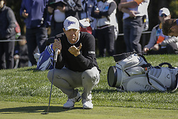 October 21, 2017 - Seogwipo, Jeju Island, South Korea - Lucas Glover of USA wait for his putt chance on the 10th hole during an PGA TOUR CJ CUP NINE BRIDGE DAY 3 at Nine Bridge CC in Jeju Island, South Korea. (Credit Image: © Ryu Seung Il via ZUMA Wire)