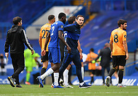 Football - 2019 / 2020 Premier League - Chelsea vs. Wolverhampton Wanderers<br /> <br /> Chelsea Manager Frank Lampard with Antonio Rudiger at the final whistle after their 2-0 defeat of Wolverhampton Wanderers, at Stamford Bridge.<br /> <br /> COLORSPORT/ASHLEY WESTERN