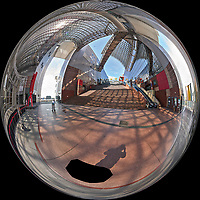 Kyoto Train Station Level Three -- Mirror Ball View. Composite of 66 images taken with a Leica CL camera and 18 mm f/2.8 lens (ISO 400, 18 mm, f/11, 1/60 sec). Raw images processed with Capture One Pro and AutoPano Giga Pro.