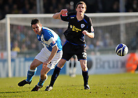 Photo: Tony Oudot/Richard Lane Photography. Bristol Rovers v Leicester City. Coca-Cola Football League One. 21/02/2009. <br /> Stuart Campbell of Bristol Rovers with Andy King of Leicester City