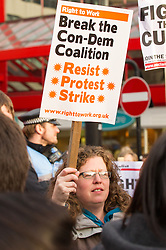 Demonstrators at the Anti Cuts rally during the Liberal Democrats conference in Sheffield