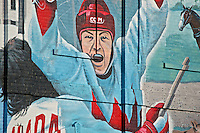 Paul Henderson's series winning goal in the dying seconds of the last game of the 1972 Canada - Russia Summit series is celebrated in this mural by Allan C. Hilgendorf in Paul's hometown of Lucknow  Ontario. Detail.