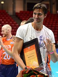 20150620 NED: World League Nederland - Portugal, Groningen<br /> De Nederlandse volleyballers hebben in de World League het vierde duel met Portugal verloren. Na twee uitzeges en de 3-0 winst van vrijdag boog de ploeg van bondscoach Gido Vermeulen zaterdag in Groningen met 3-2 voor de Portugezen: (25-15, 21-25, 23-25, 25-21, 11-15) / Wytze Kooistra