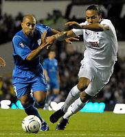 Photo: Ed Godden/Sportsbeat Images.<br /> Tottenham Hotspur v Anorthosis Famagusta. UEFA Cup, First Leg. 20/09/2007. Younes Kaboul (L), closes in on Famagusta'a Fabio De Matos Pereira.