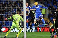 Cardiff City's Sol Bamba (14) ) misses a header at goal from 6 yards out. EFL Skybet championship match, Cardiff city v Brighton & Hove Albion at the Cardiff city stadium in Cardiff, South Wales on Saturday 3rd December 2016.<br /> pic by Carl Robertson, Andrew Orchard sports photography.