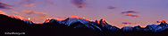 Panoramic of full moonrise over the Cloudcroft Peaks in Glacier National Park in Montana