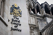 The sign for the Royal Courts of Justice, the law courts including the high court and the court of appeal for the laws in England and Wales on the 25th of May 2021 in London, United Kingdom.