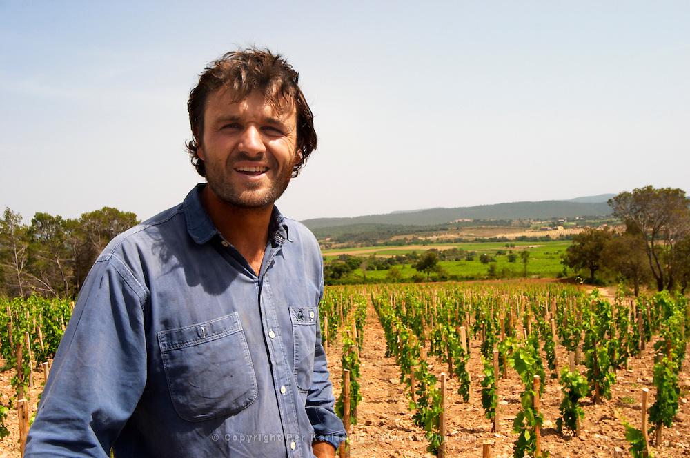 Christophe Peyrus Domaine Clos Marie. Pic St Loup. Languedoc. Carignan grape vine variety. Owner winemaker. France. Europe. Vineyard.