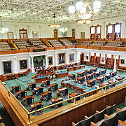 Interior of the Senate chamber of the Legislature of the State of Texas inside the Texas State Captiol in Austin, Texas. The Senate consists of 31 members.