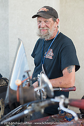 Rich Rau at a gas stop on the Motorcycle Cannonball Race of the Century. Stage-14 ride from Lake Havasu CIty, AZ to Palm Desert, CA. USA. Saturday September 24, 2016. Photography ©2016 Michael Lichter.